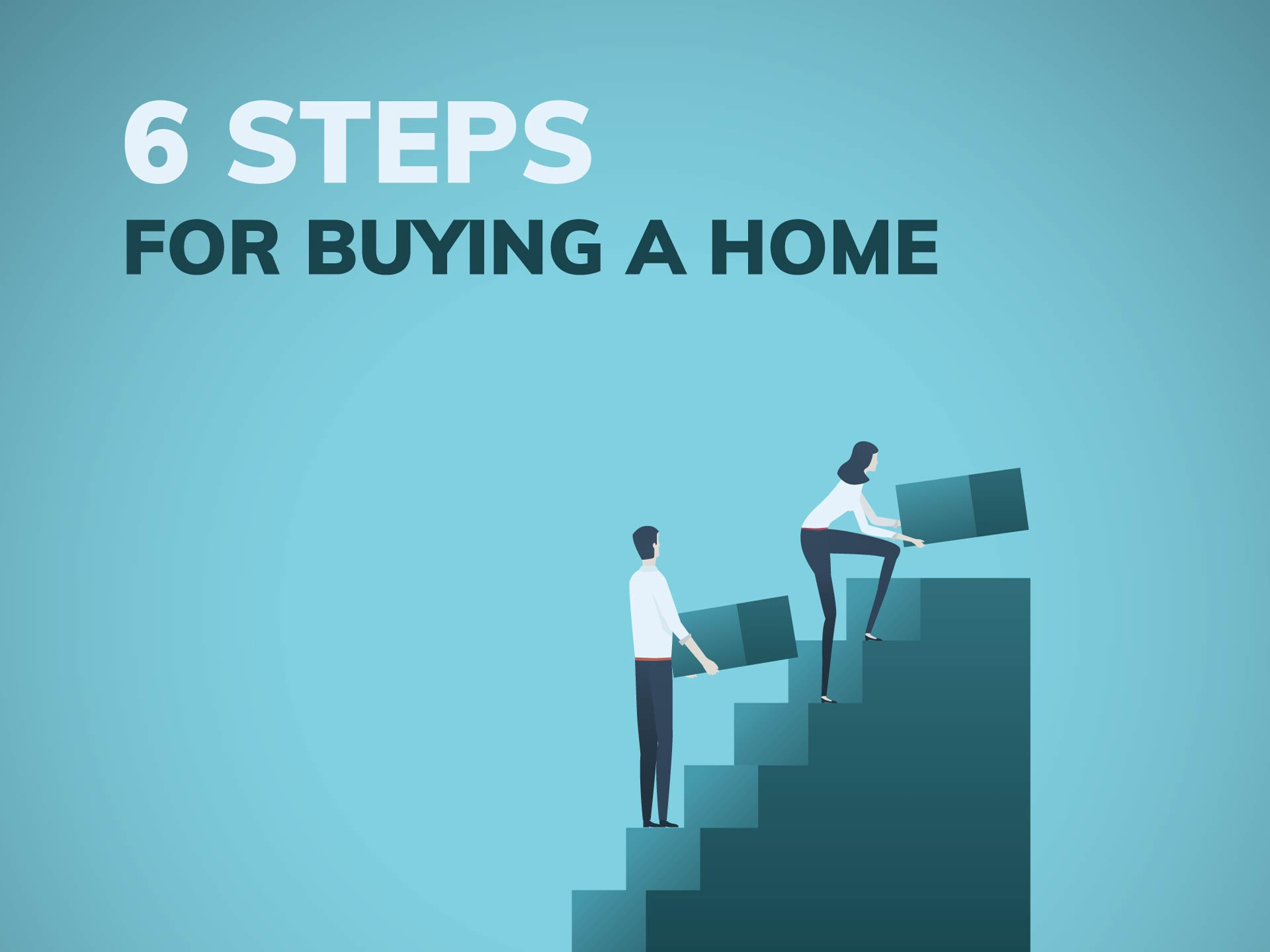 A couple building stairs toward homebuying