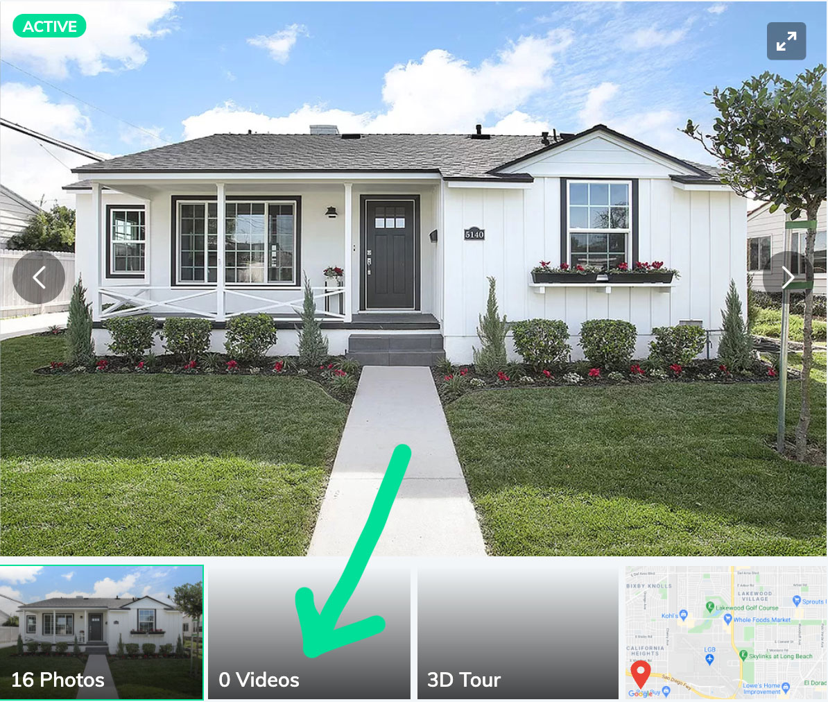 A real estate listing showing where you can display video