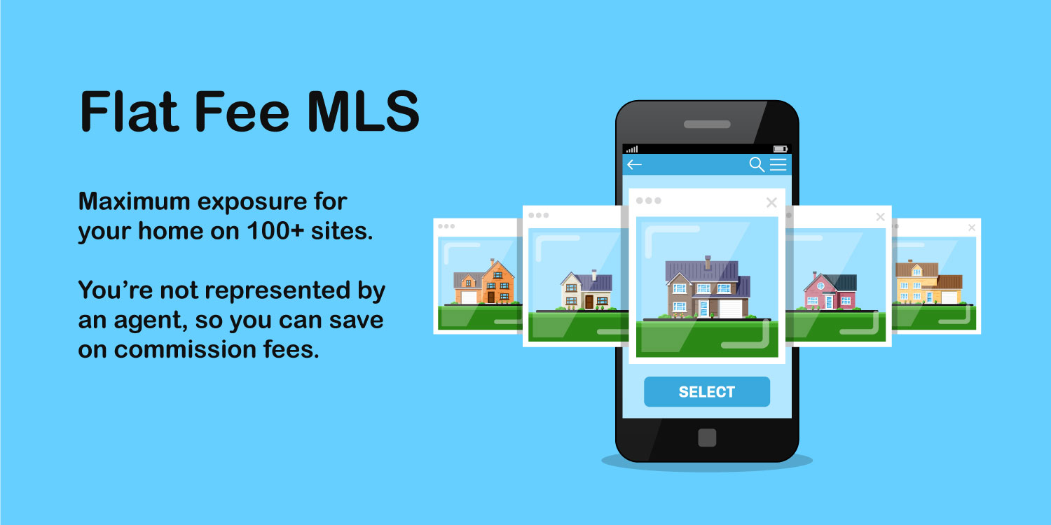 Homes for sale appear on real estate websites by using flat fee MLS.