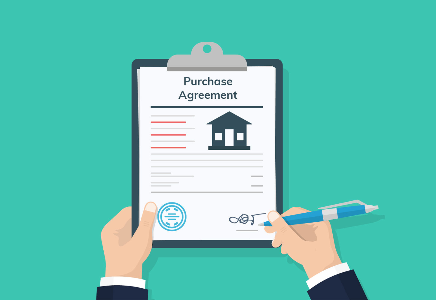 A hand signing a real estate contract. For Sale by Owner.
