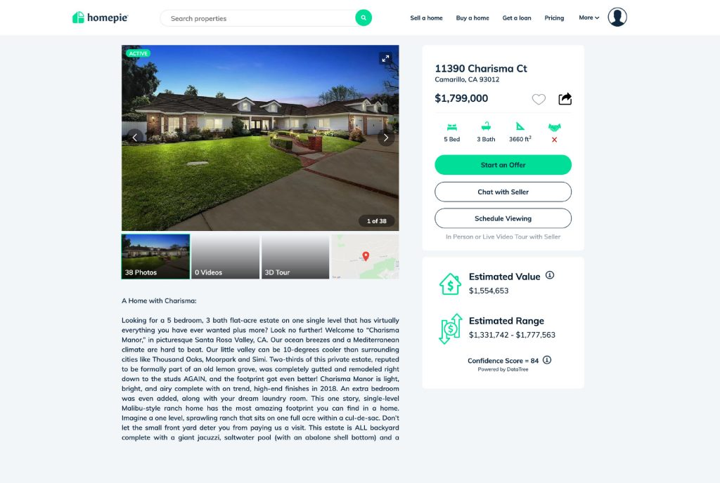 A website showing a listing of a home for sale by owner