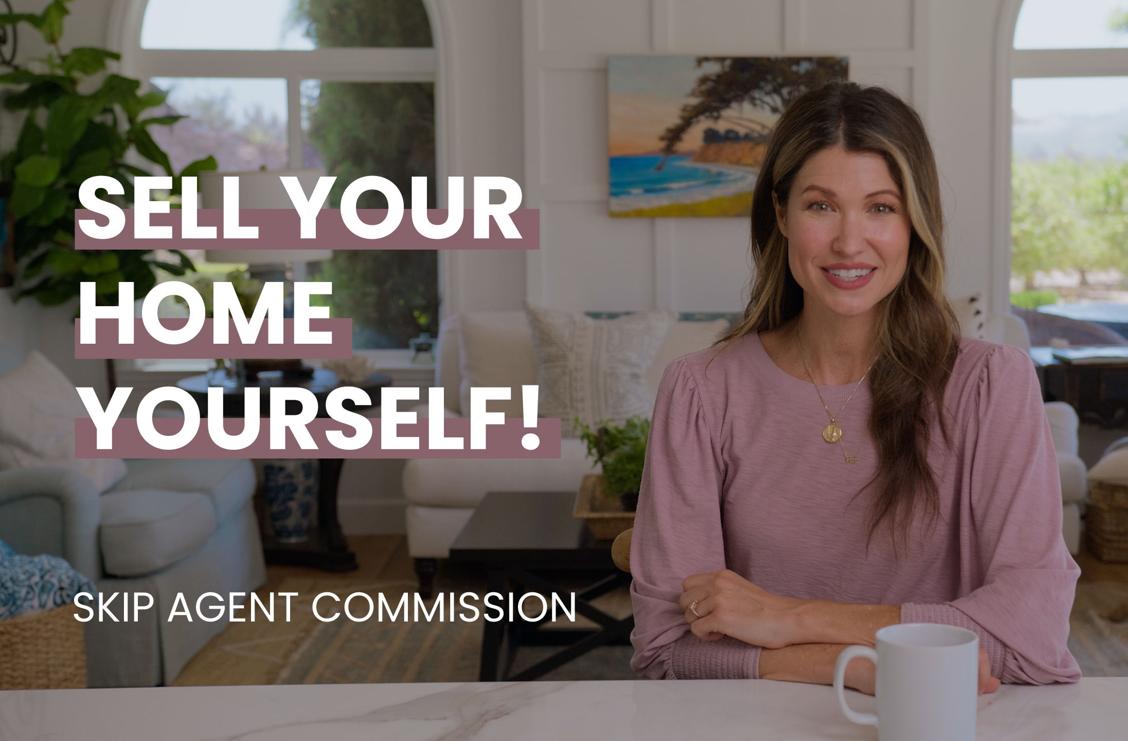 A homeowner sitting at her house explaining how to sell your own home
